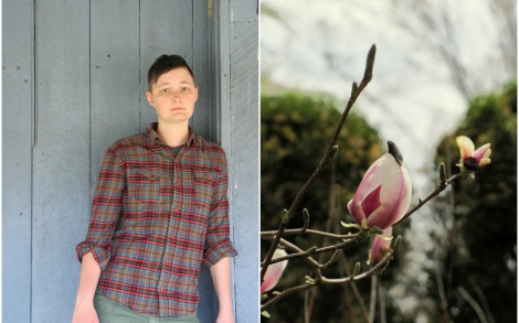 This is a portrait of D. Allen wearing a red plaid shirt and leaning against a light blue wall. The portrait is juxtaposed with an up-close image of a pink magnolia bud.