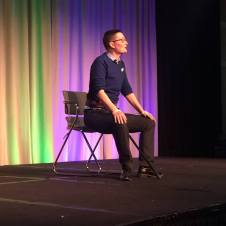 "D. Allen performs ""Body : Language : Jungle"" at the 2018 Rainbow Health Initiative Conference, MN. Photo by Claire Avitabile."