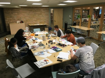 Mixed-Media visual art workshop, supported by the Hennepin County Library TransFabulous program. Nokomis Library, Summer 2017. Photo by D. Allen.